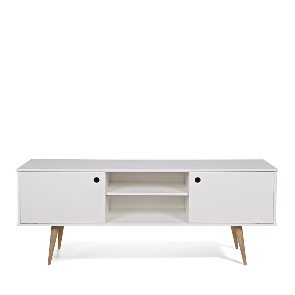 retro meuble tv blanc et bois