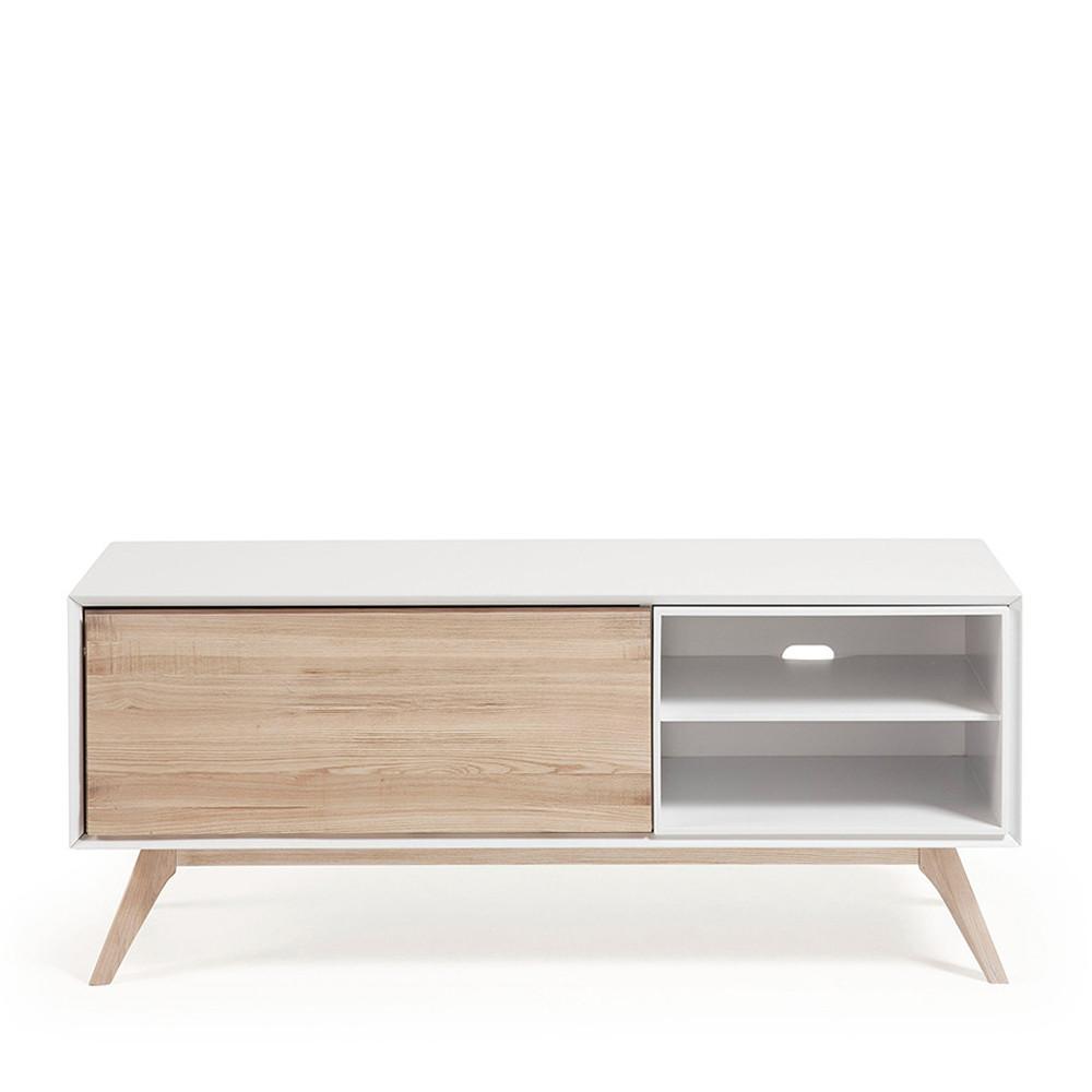 meuble tv design blanc et bois de frene kave home joshua