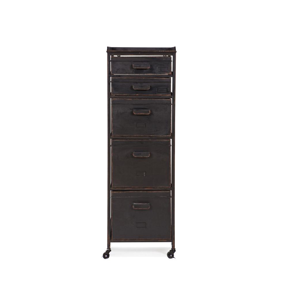 meuble de rangement metal 5 tiroirs woood chaplin