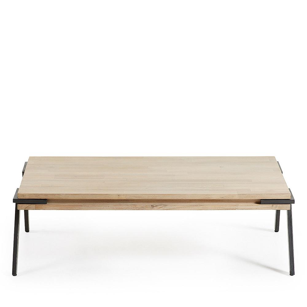 table basse rectangle bois massif et metal spike