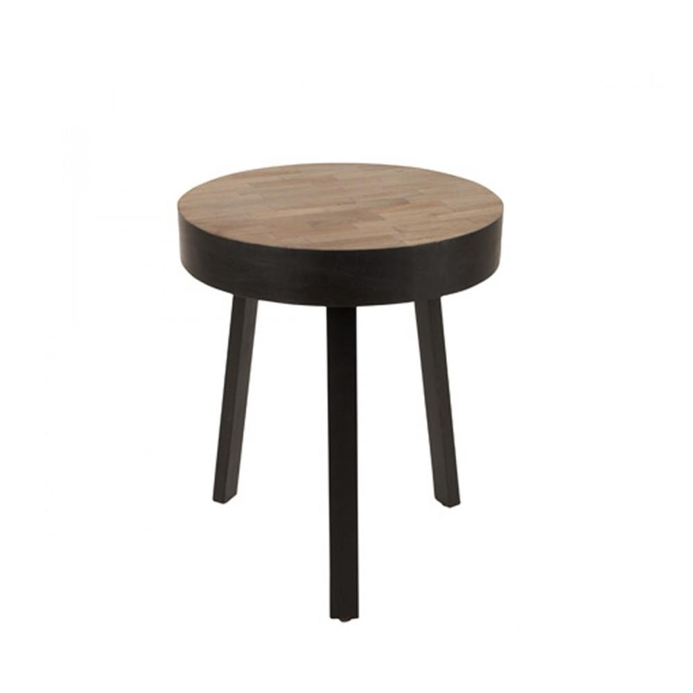table basse ronde o45 cm en teck recycle small suri