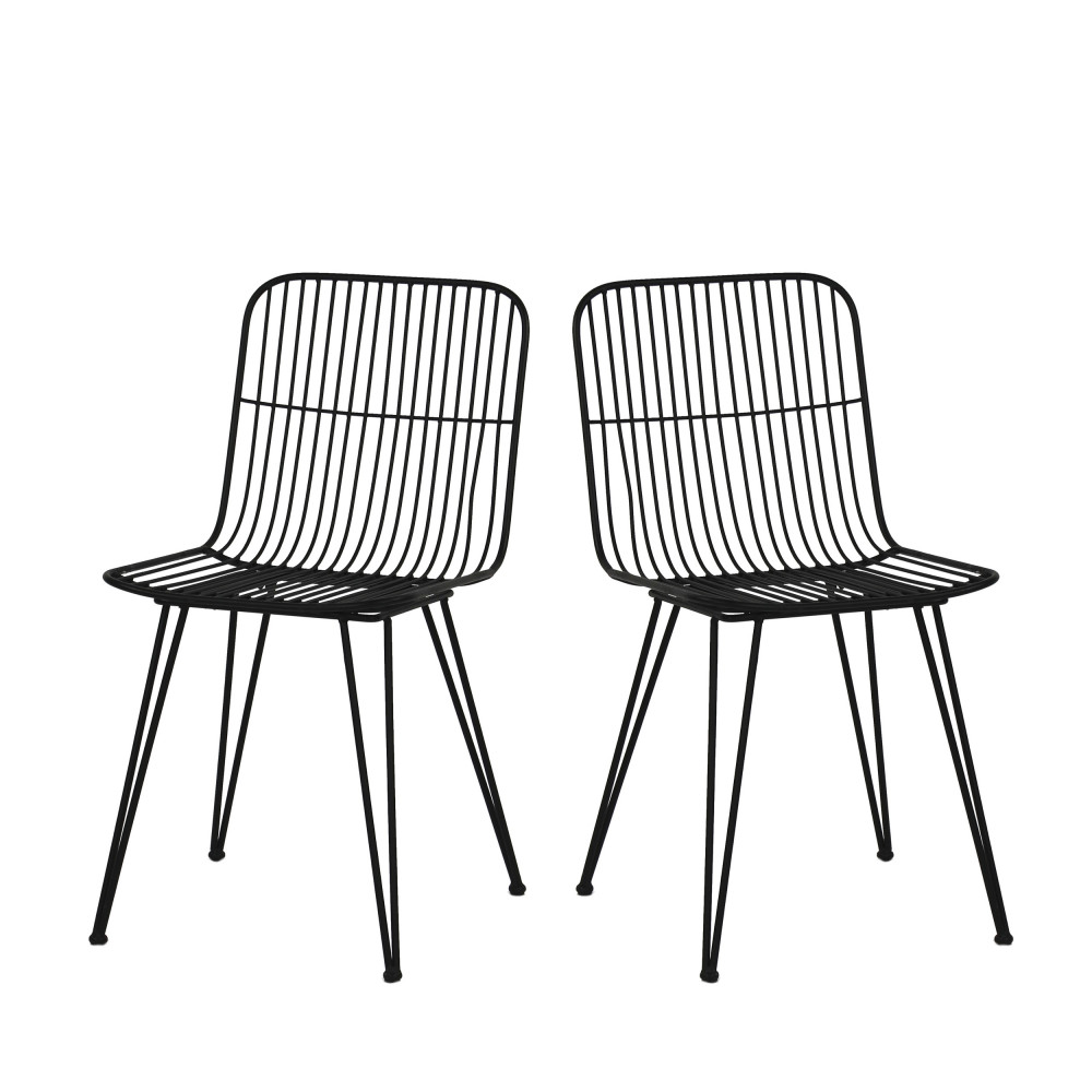 2 chaises design en metal pomax ombra