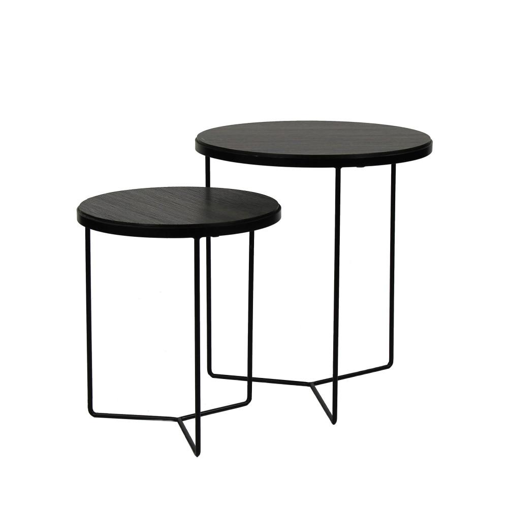 2 tables gigognes en bois et metal pomax miso