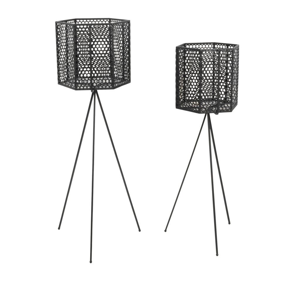 2 cache pots sur pieds en metal present time mesh hexagon