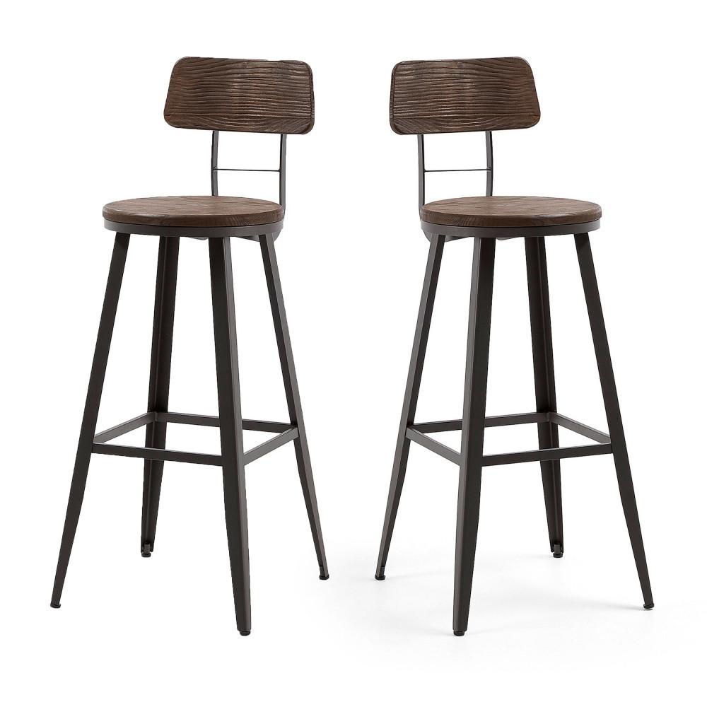 2 tabourets de bar en bois et metal kave home rozadas