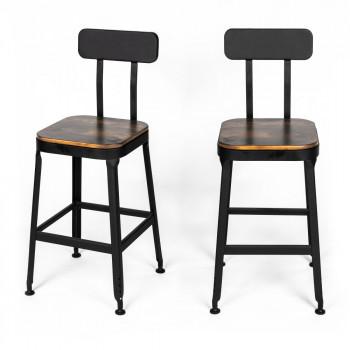 chilly 2 chaises de bar metal et bois 63cm