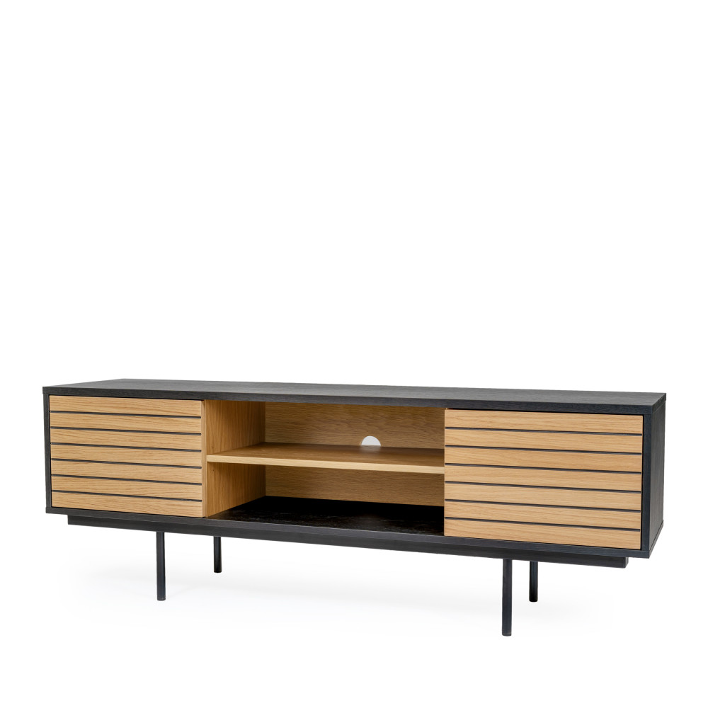 meuble tv design en bois et metal woodman stripe