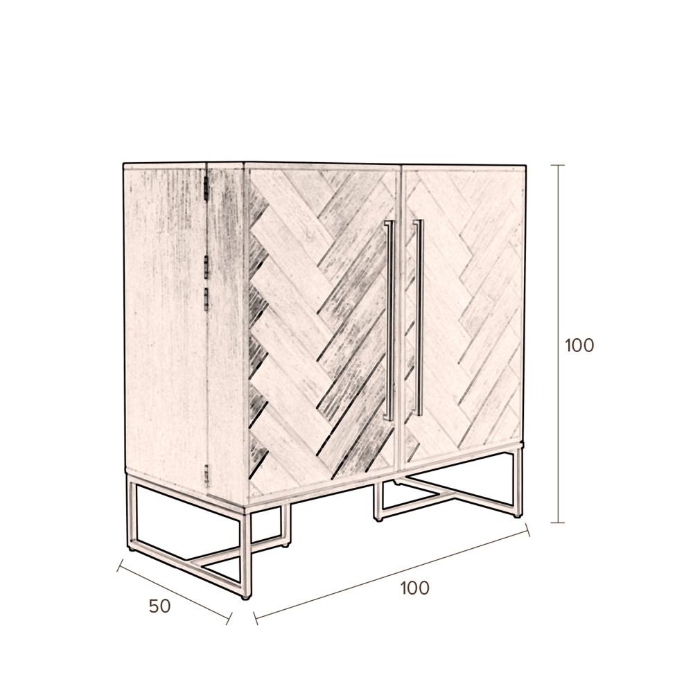 meuble bar a vin en bois et laiton dutchbone class