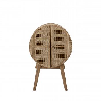 otto meuble de rangement rond en bois et cannage