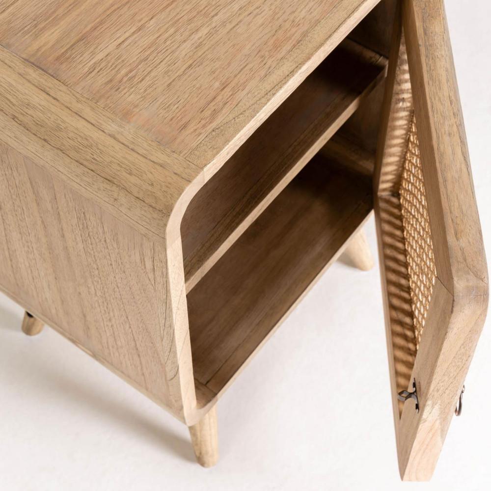 table de chevet en bois et cannage jarabacoa