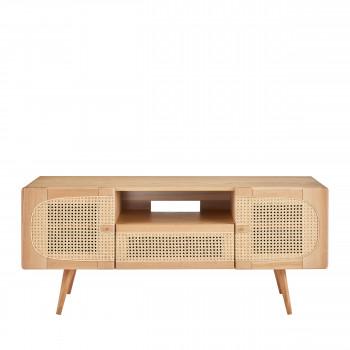 ostnor meuble tv 2 portes 1 tiroir en bois et cannage