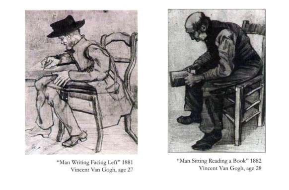 On the left, Van Gogh drawing a sitting man in 1881. If you look, the chair is out of proportion, the legs are too long for the tiny torso, and the arm facing the viewer doesn't appear to have an elbow-or bones. I'm not being mean, this is the sort of critique (and worse!) that training artists have to live through to improve. To the right, just a year later, you can see how much Van Gogh improved. The chair and man are in proper proportion. His head, torso and appendages are not only in proportion, they look solid and correct. Practice paid off.