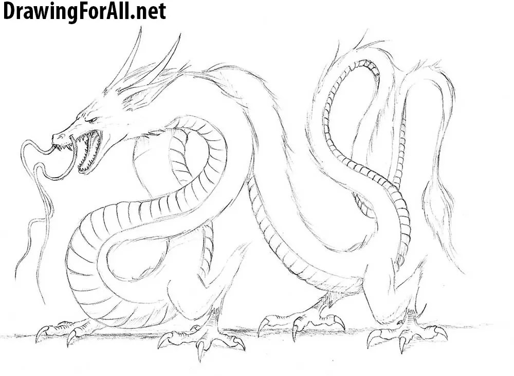 How To Draw A Chinese Dragon Drawingforall Net