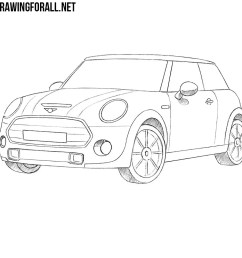 mini cooper  detailed drawing [ 1000 x 1000 Pixel ]