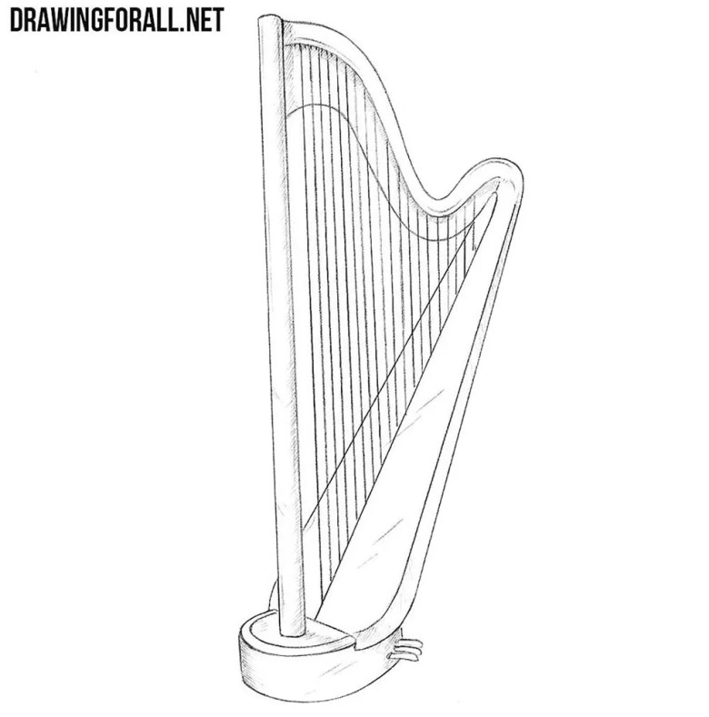 how to draw a harp | drawingforall