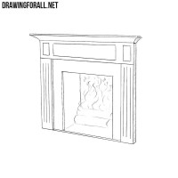Simple Fireplace Drawing. How To Draw A Fireplace Step By