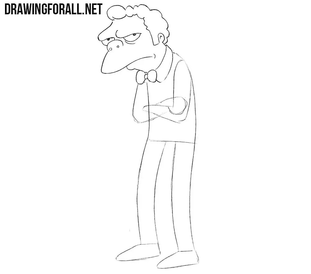 How to Draw Moe from the Simpsons  Drawingforallnet