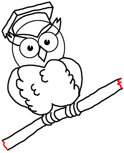 Step 15 Drawing Comic Cartoon Owls with Graduation Cap on