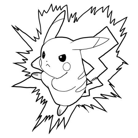 How to Draw Pikachu Attacking in Battle Pokemon Drawing