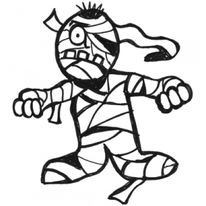 Drawing Cartoon Mummy with Step by Step Drawing Lessons