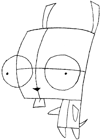 How to Draw Gir from Invader Zim with Step by Step Drawing