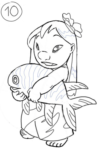 How to Draw Lilo from Lilo and Stitch with Easy Step by