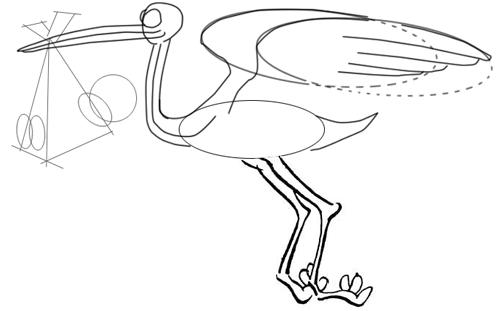 How to Draw Cartoon Stork Holding Newborn Baby Drawing