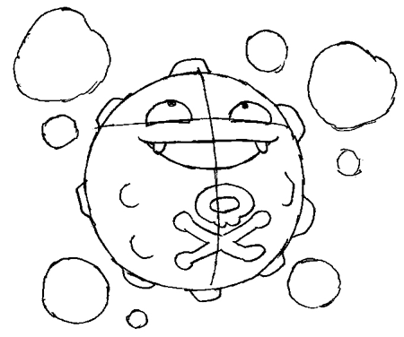 How to Draw Koffing from Pokemon in Easy Step by Step