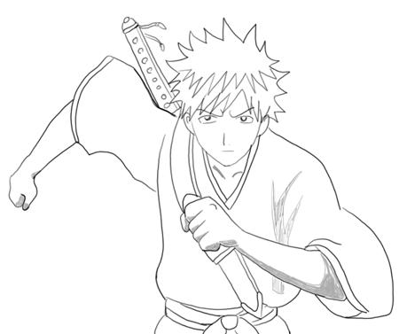 How to Draw Ichigo Kurosaki from Bleach in Step by Step