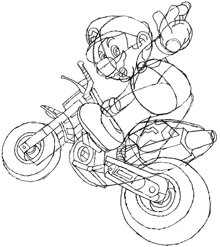 How to Draw Mario Riding a Bike from Mario Kart Wii