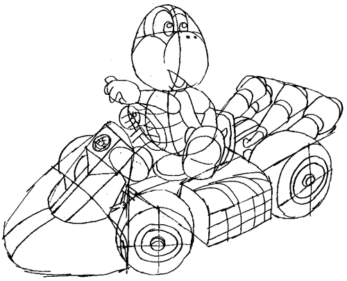 How to Draw Koopa Riding His Car from Mario Cart Drawing