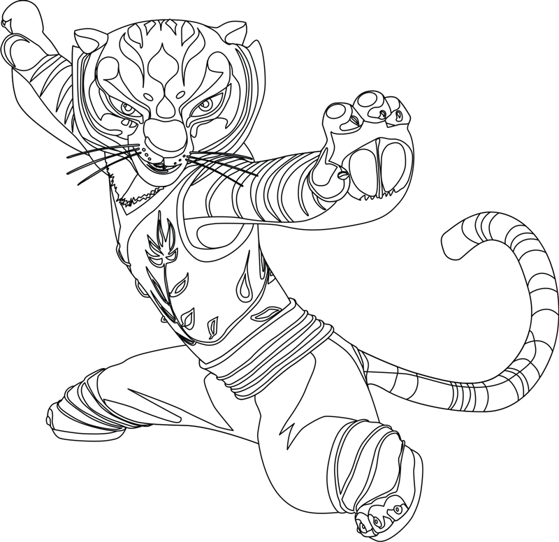 How to Draw Master Tigress from Kung Fu Panda 1 and 2 with