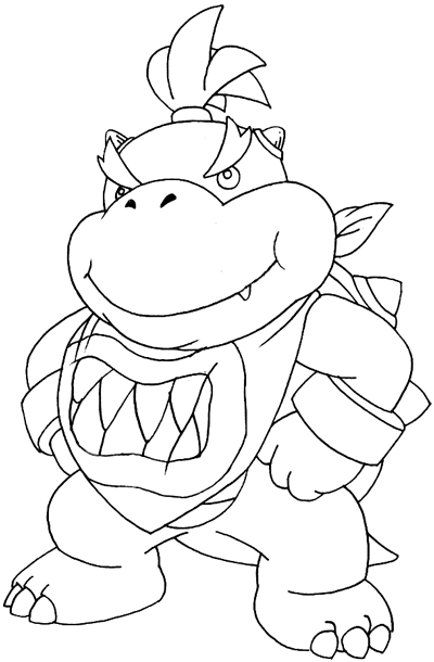 How to Draw Bowser Jr. From Mario Kart Wii Step by Step