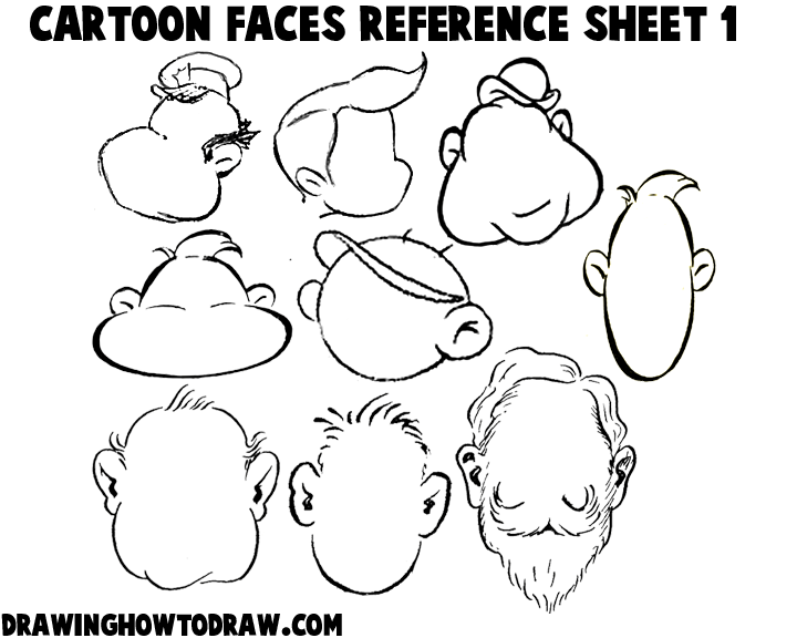 Cartoon Faces Reference Sheets and Heads Examples for