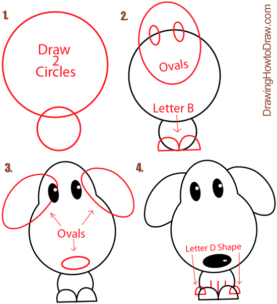 Big Guide To Drawing Cartoon Dogs Puppies With Basic Shapes For Kids How To Draw Step By Step Drawing Tutorials