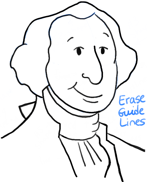 How to Draw Cartoon George Washington with Simple Step by