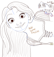 draw rapunzel and pascal