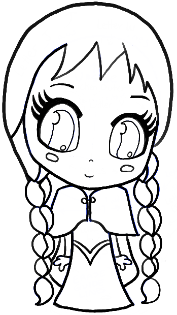 How to Draw Chibi Anna from Frozen with Easy Step by Step