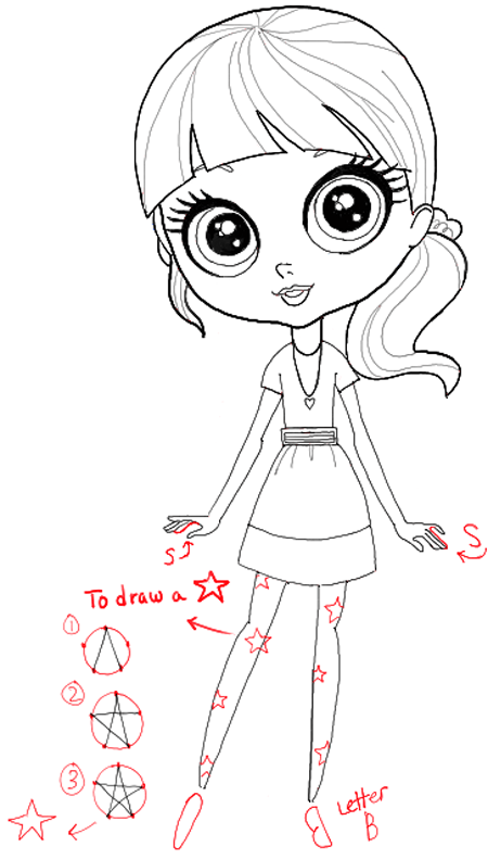 How To Draw Blythe Baxter From Littlest Pet Shop With Easy
