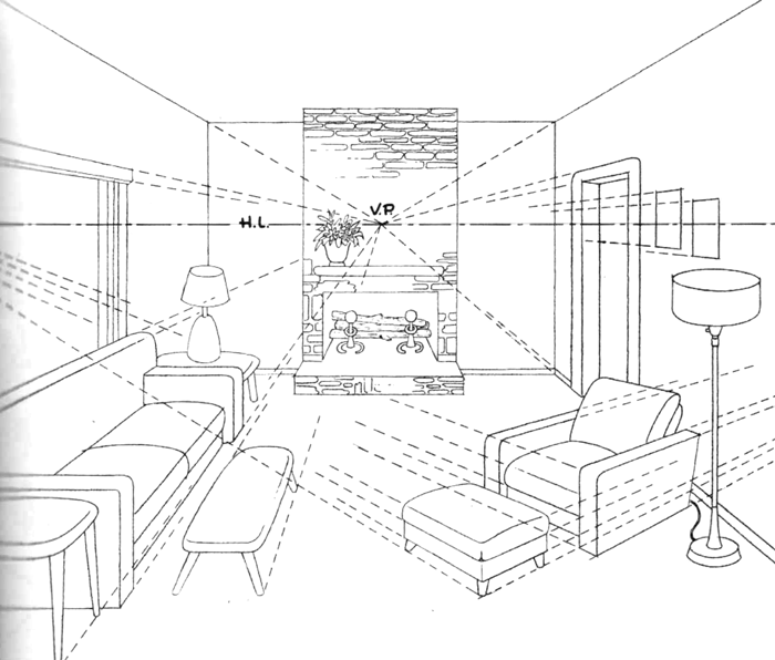 How To Draw A Room With Perspective Drawing Tutorial Of Living. Pin Drawn  Bedroom One Point 6 Part 89
