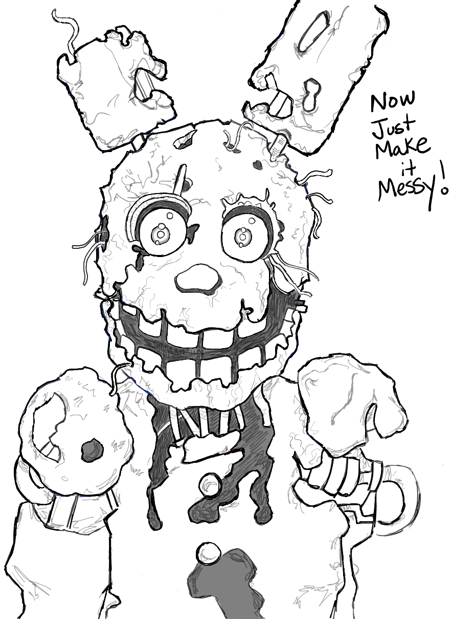How to Draw Springtrap from Five Nights at Freddy's 3 Step