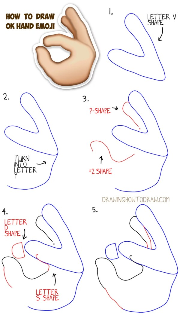 Draw Hand Emoji With Easy Steps Drawing Lesson