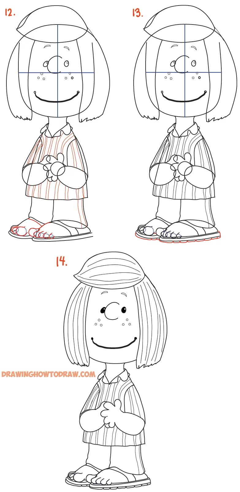 How to Draw Peppermint Patty from The Peanuts Movie Easy