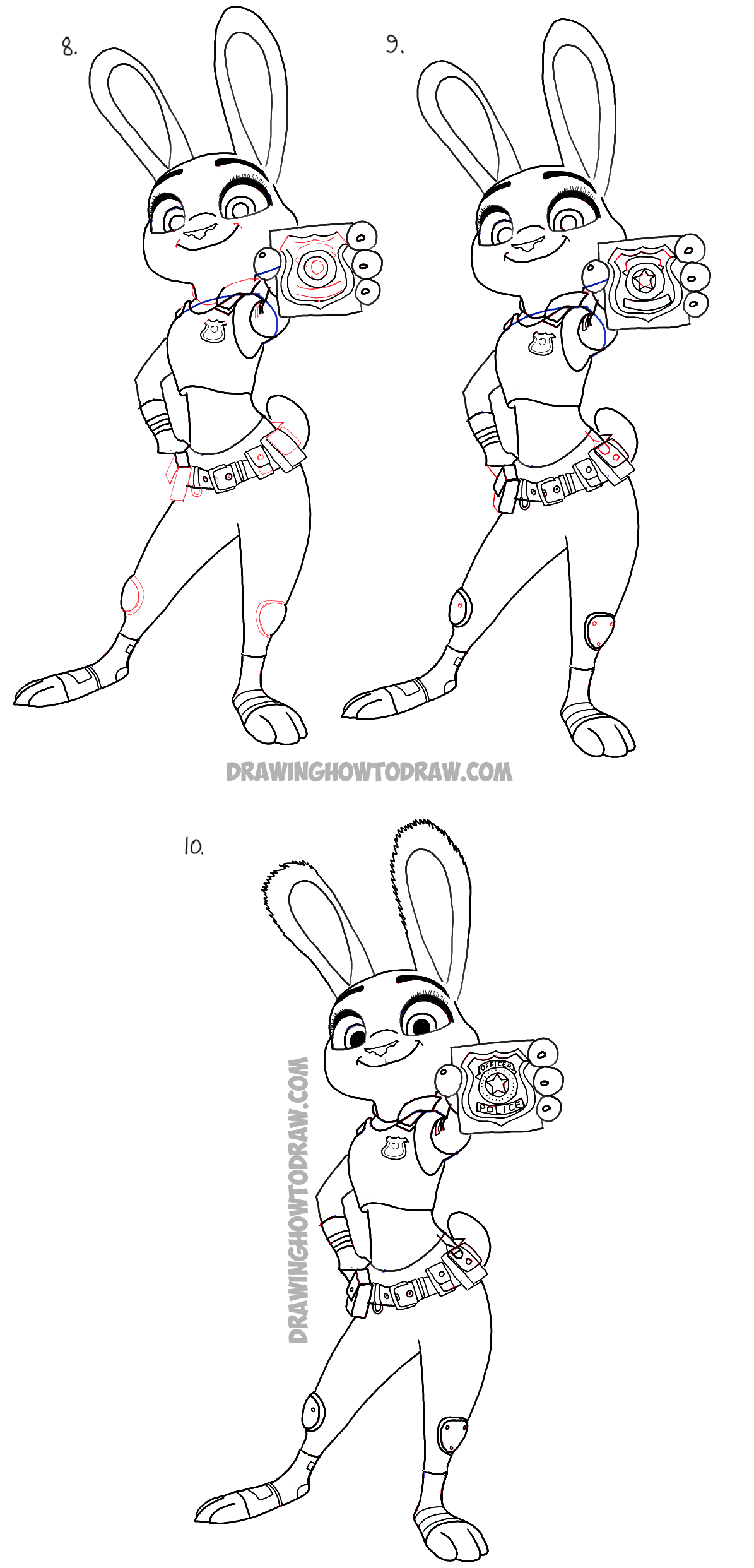 How to Draw Judy Hopps from Zootopia : Easy Step by Step