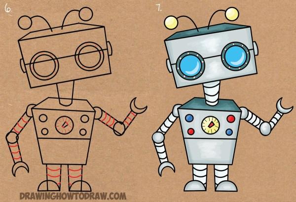 Draw Cartoon Robot Letter Shape Easy