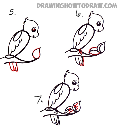 How to Draw Cartoon Parrot from Number 2 or Capital