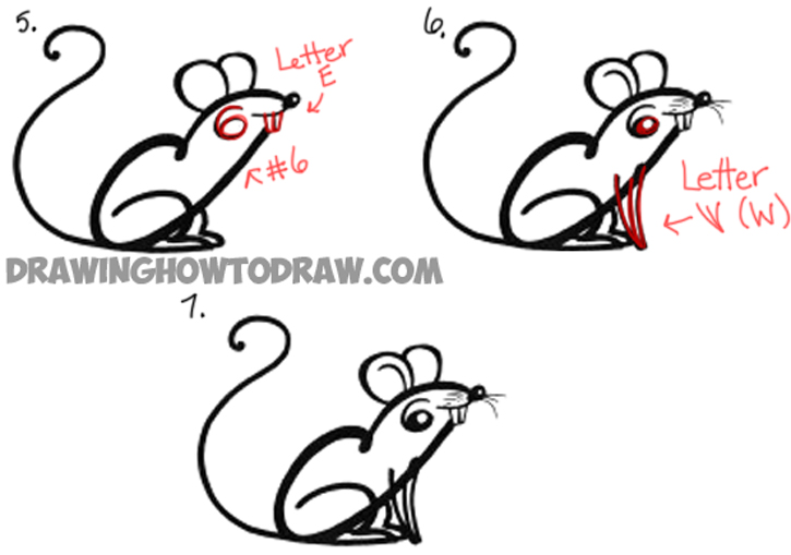 How to Draw a Cartoon Mouse from Cursive Letter A Shape