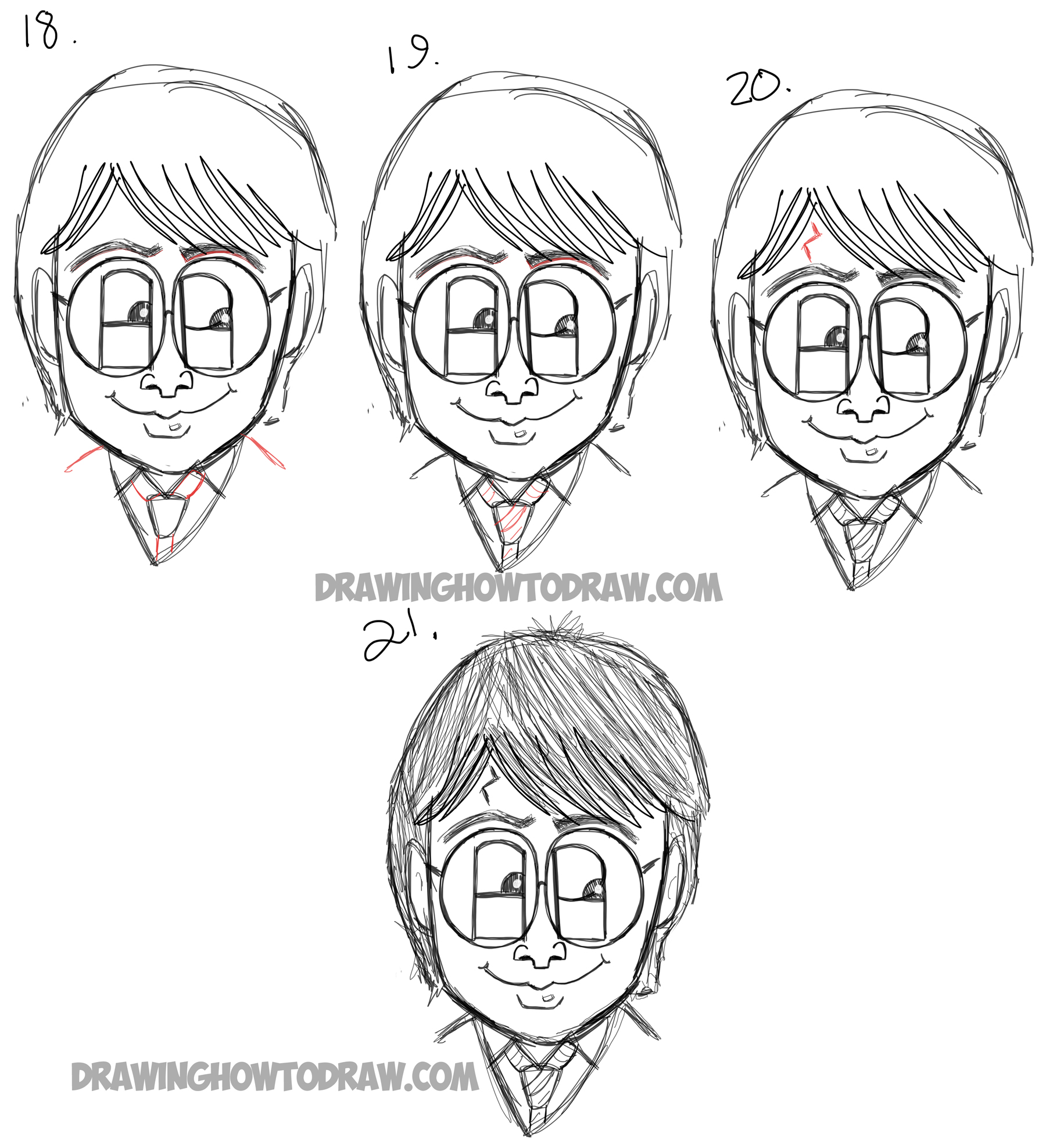 How to Draw Cartoon Harry Potter from the letters 'HP