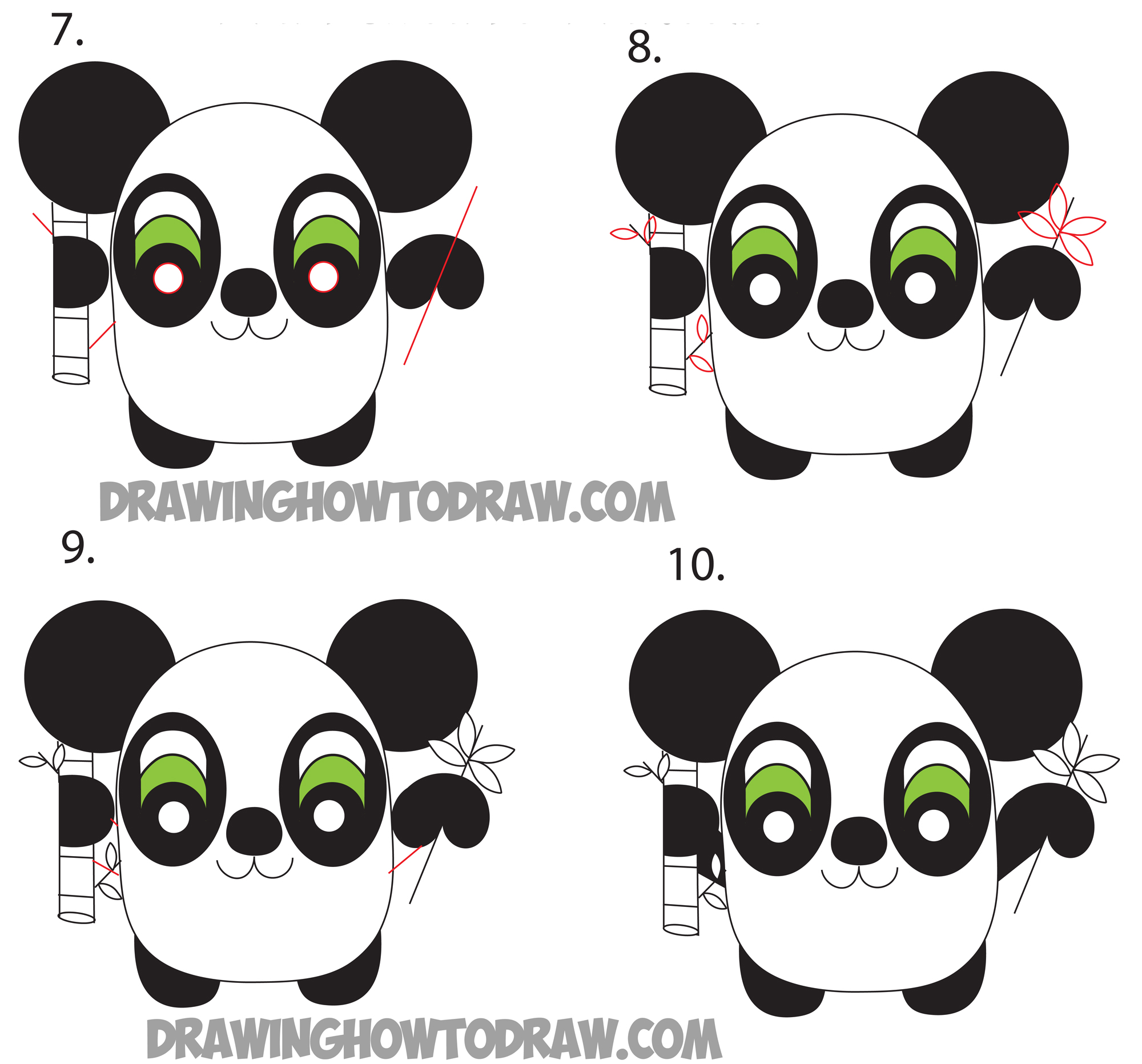 How to Draw Cartoon Pandas from the Word Panda Step by