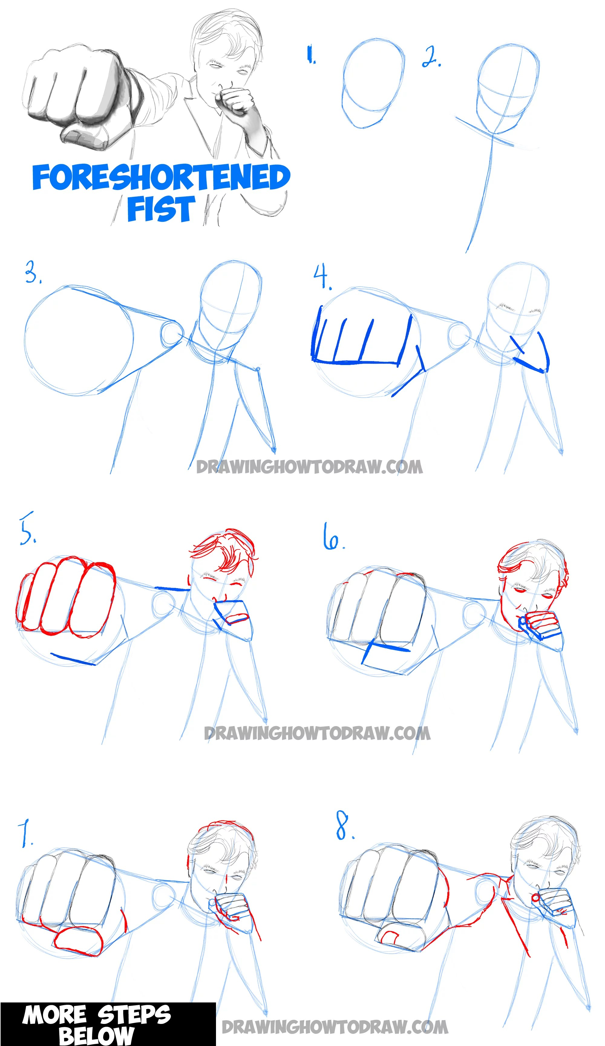 How To Draw Foreshortened Fists Foreshortening Hands